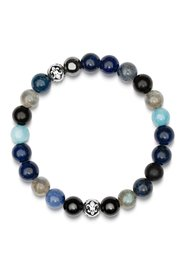 Men's Wristband with Blue Lapis, Turquoise, Dumortierite, Agate, Labradorite, Hematite and Silver