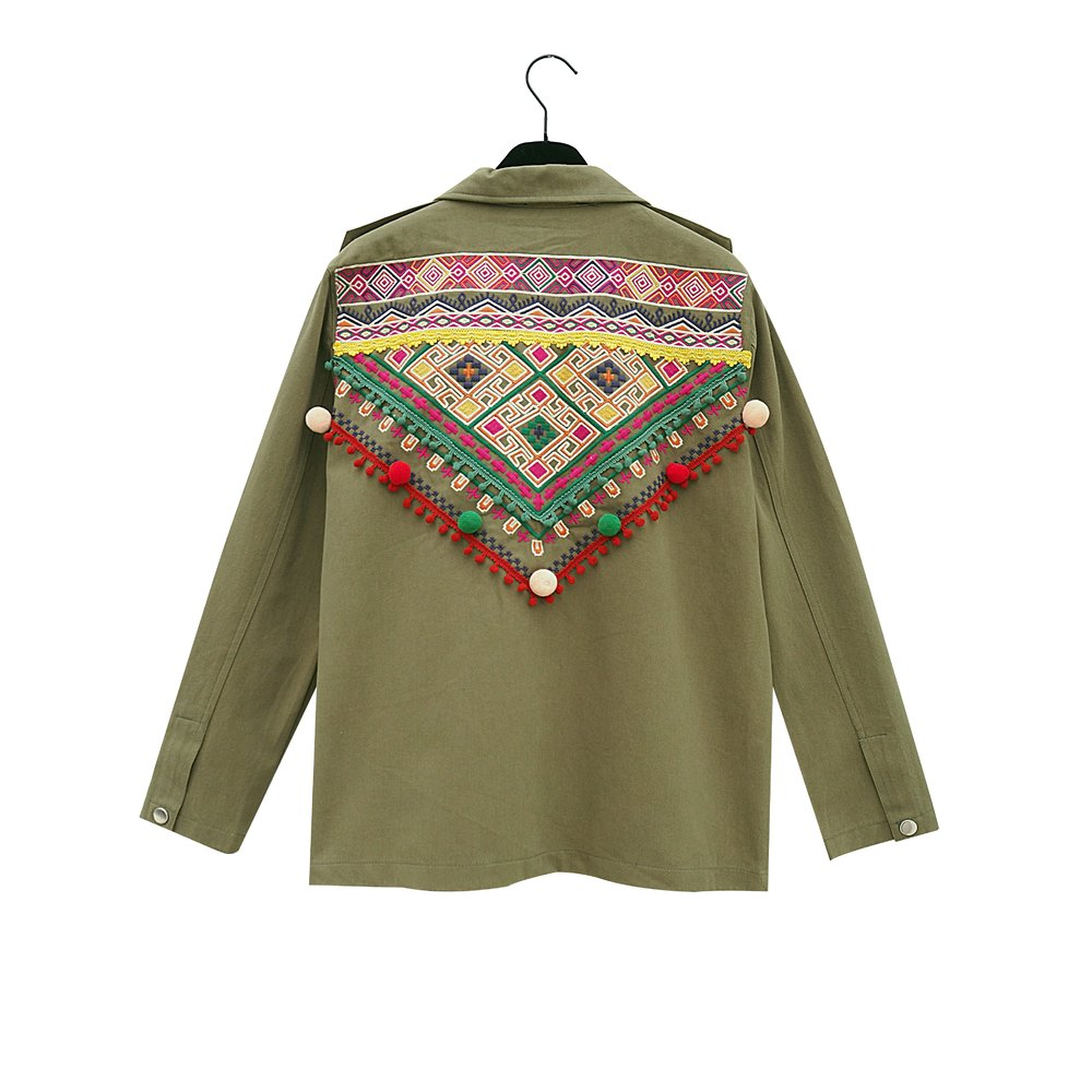 EMILIE Army Green Embroided Jacket