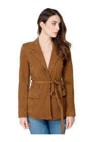 SUEDE LEATHER JACKET WITH BELT