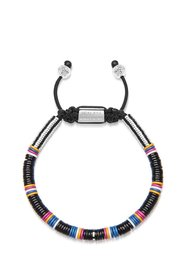 Men's Beaded Bracelet with Black Disc Beads