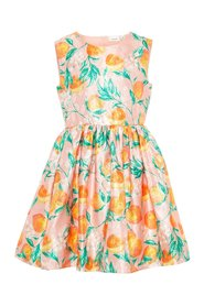 Dress peach print jacquard