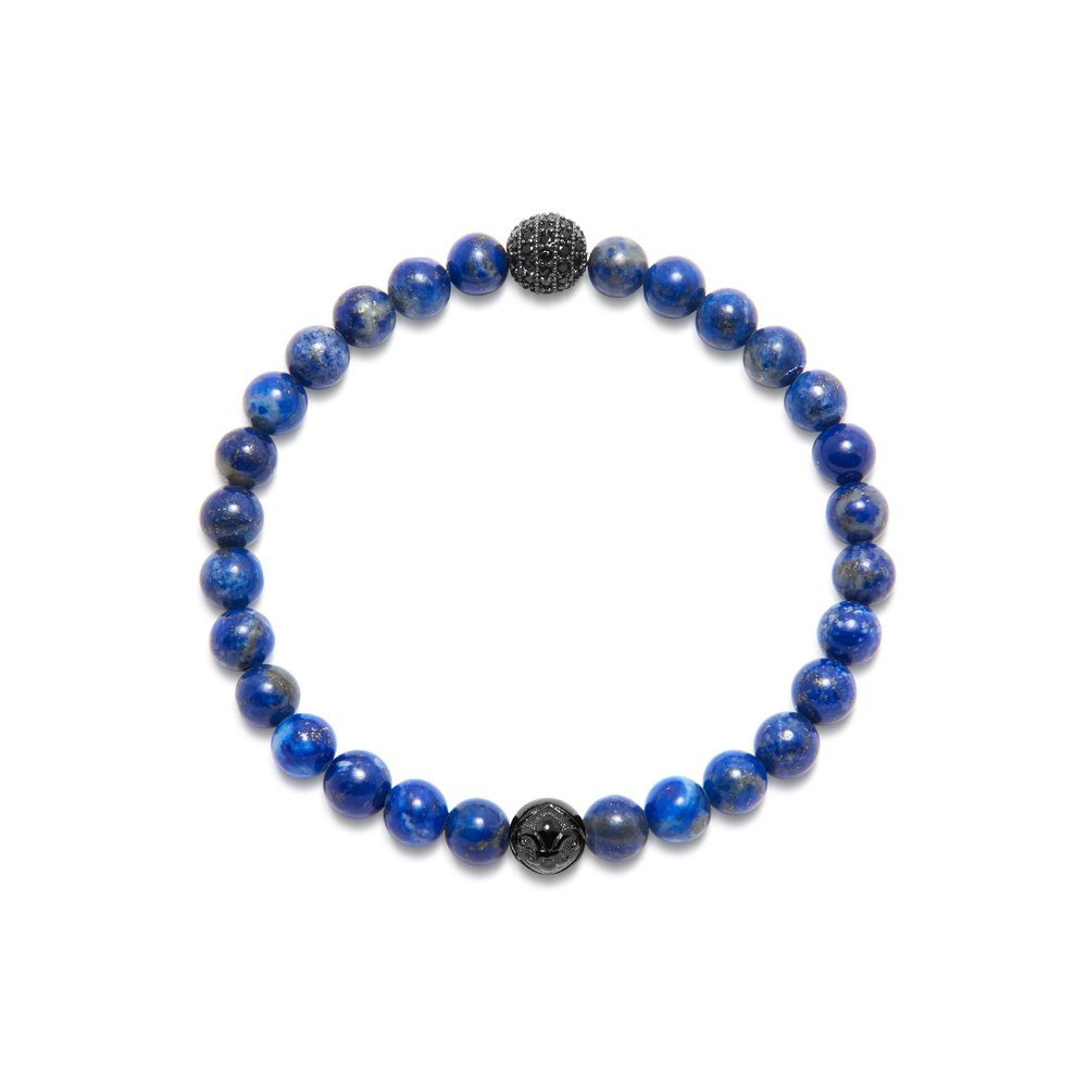 Men's Wristband with Blue Lapis and Black CZ Diamond