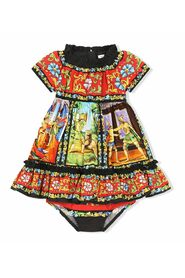 Long Carretto-print poplin dress