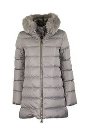 GREY DOWN JACKET WITH FUR
