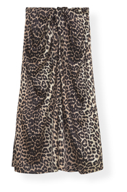 Silk Stretch Satin Skirt 943 LEOPARD