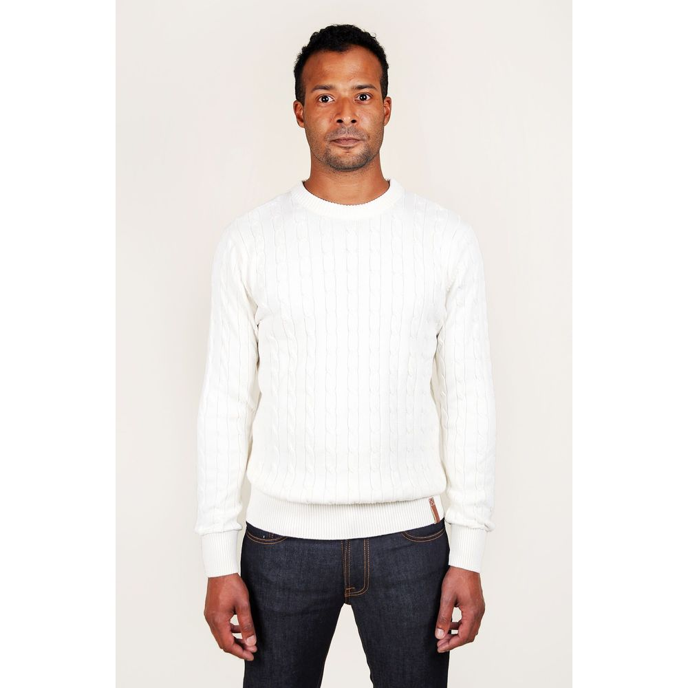 Knowledge Cotton Apparel White Cable Knit Knowledge Cotton Apparel