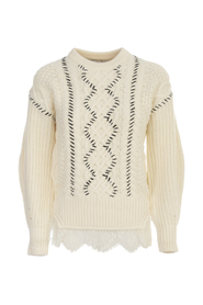 IVORY CABLE KNIT CONTRAST STITCH JUMPER