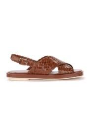 Sandalo Malena in pelle intrecciata marrone