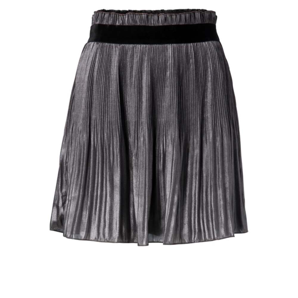 SHINY PLISSE SKIRT MID LENGTH