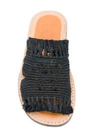 Fringed raffia sandals