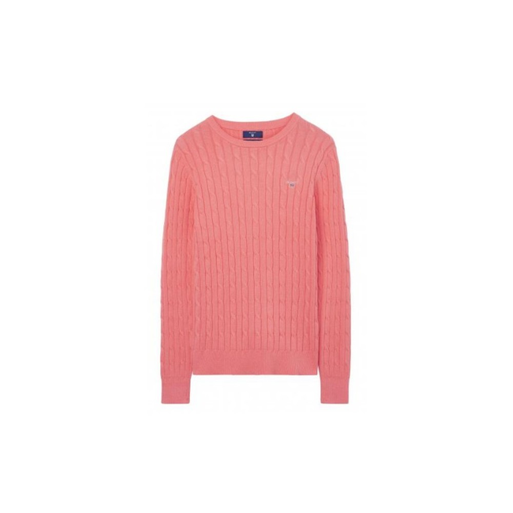 STRETCH COTTON CABLE CREW NECK JUMPER