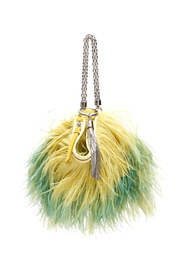 Callie chain evening clutch with feathers