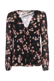 Knot detail rose print georgette blouse