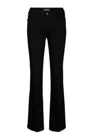 Mosmosh zwarte lange flared broek Victoria silk jeans - 130861