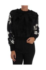 Fur Floral Brocade Zipper Sweater