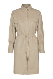 Bradshaw Long Leather Shirt Dress Skind 136570