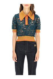 lace polo with short sleeves