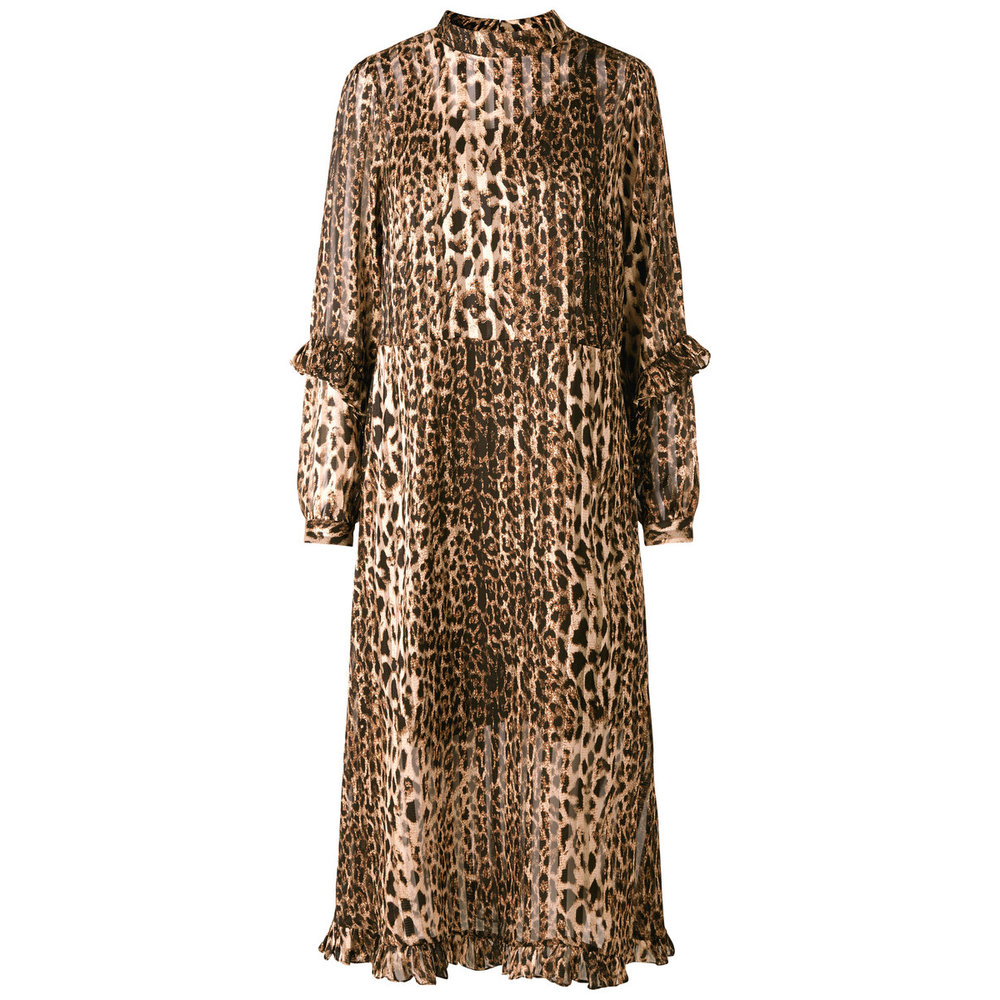 Long Sleeved dress Leopard printed ruffle