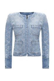 Denim jacket with glass stones