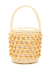 Mini wicker bucket bag