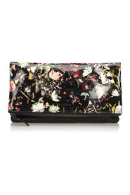 Floral Print Patent Leather Clutch Bag