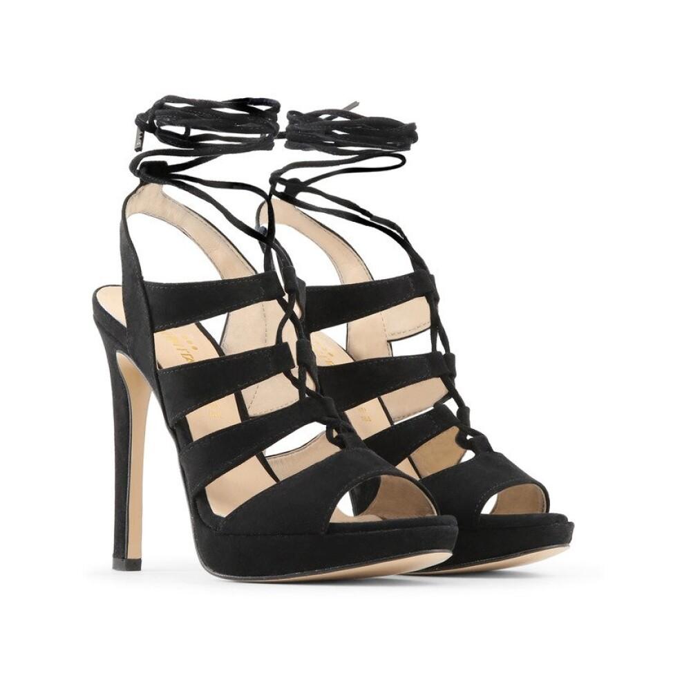 Black FLAMINIA Sandals | Made in Italia | High Heel Sandals | Women's shoes