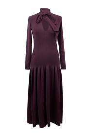 Brugt uldblanding V-hals strikket kjole str. XS