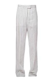 Pantalone gessato in lino