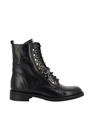 Combat boots with zip and studs