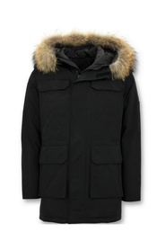Parka Winter Coat with Large Real Fur Collar