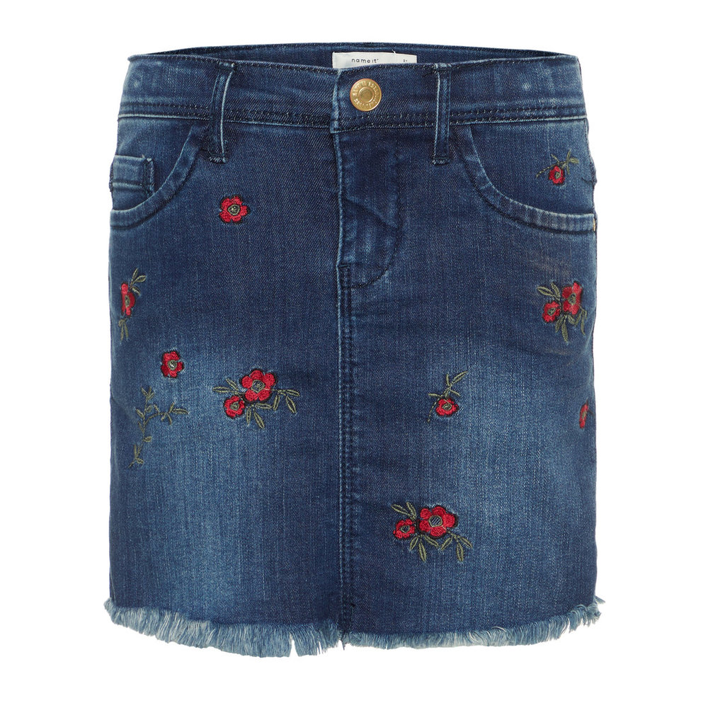 Denim skirt floral embroidered