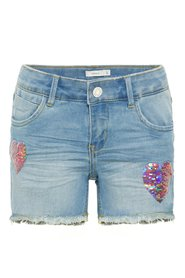 Denim shorts flip sequin