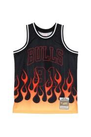 CANOTTA BASKET NBA SWINGMAN JERSEY FLAMES HARDWOOD CLASSICS NO91 DENNIS RODMAN 1997-98 CHIBUL