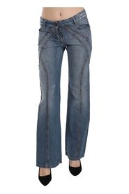 Washed Low Waist Cotton Flared Denim Pants