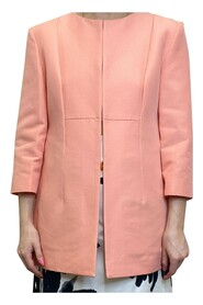 Collarless jacket with 3/4 length sleeves