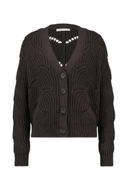 Studio Anneloes 03410 Perla ajour cardigan Coffee brown