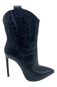 Pre-owned heeled cowboy pointed leather heeled boots