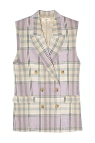 Linen vest with notch lapels
