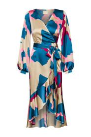 Asymetryczna sukienka we wzory Frilla