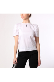 Karl lagerfeld volume-sleeve crop top