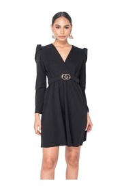 Puffed Sleeve Wrap Front  Mini Dress