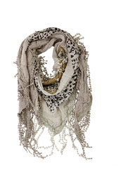 Embroidered Triangle Scarf Beige