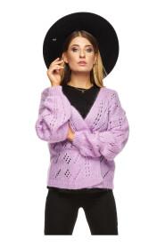 Gładki sweter z rozszerzanym rękawkiem