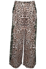 Terry pants - Loose pants with palm and leopard print