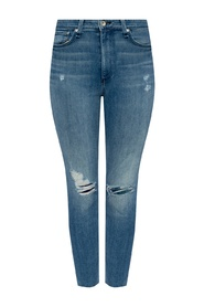 High-rise stonewashed jeans