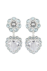 Heart & Faceted Crystal Stud Earrings