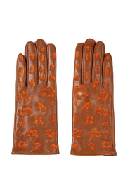 Leather Gloves with Leopard Pattern Detailing
