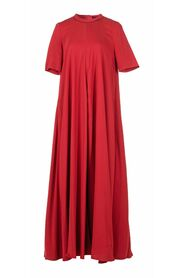 Round Neck Stretch-Crepe Maxi Dress
