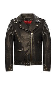 Leather jacket with logo