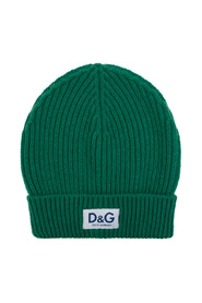 Knit cashmere hat with D&G patch